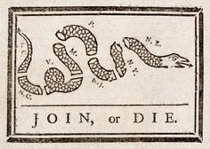 """__Benjamin Franklin's """"Join, or Die"""" cartoon"""