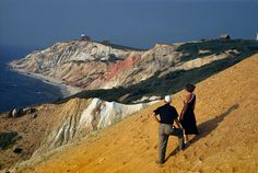People on steep slope overlook western headland of Marthas Vineyard, August 1950.Photograph by Robert Sisson, National Geographic