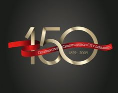 Christchurch City Libraries 150 Celebration - concrete #christchurch #ccc #years #150 #library #ribbon #gold #typography