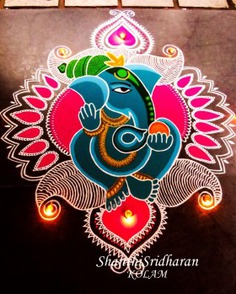 Ganesh rangoli design for diwali