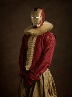Elizabethan Superheroes #illustration #iron man #elizabethan #art #design #robot #marvel