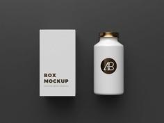 Copper Foil Bottle & Box Packaging Mockup #free #psd