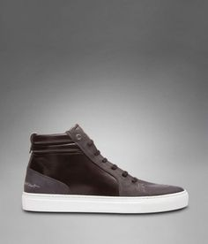 YSL Malibu Mid-top Sneaker in Grey and Black Leather - Sneakers - Shoes - Men - Yves Saint Laurent - YSL