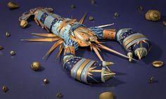 Cabinet de Curiosités on the Behance Network #craft #spatter #paper #lobster