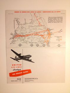 United Airlines Timetable Airplane Schedule 1940's #vintage #brochure