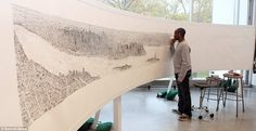 Autistic artist Stephen Wiltshire on his third day of drawing the New York skyline from memory #memory #wiltshire #autistic #york #stephen #skyline #new