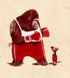 32_bravekang.jpg 495×550 pixels #kangaroo #illustration #boxing #gorilla