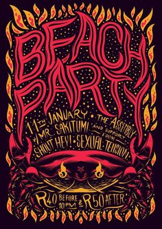 Fire, Beach Party, Gig Poster #party #gig #fire #poster #beach #crab