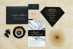 Geometric Black Gold Dinner Party / Modern Stationery / Marble / Agate Escort Cards / Black Leather / Kate Spade New York / 100 Layer Cake #geometry #invitation