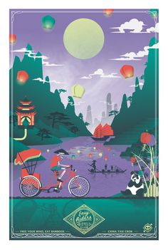 Bike travel illustration