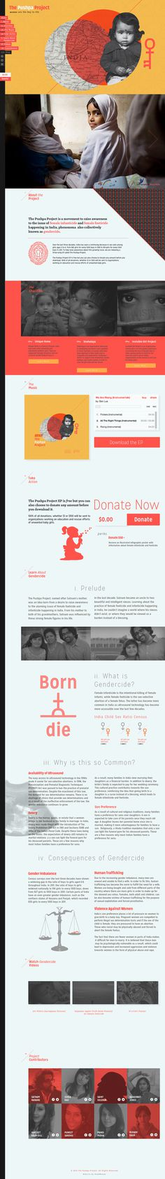 Pushpa Project Website #infographic #illustration #typography #layout #website #icon #key #female #story #gender #non #profit #feminine