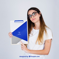 Mockup concept of young woman presenting clipboard Free Psd. See more inspiration related to Mockup, Business, Template, Woman, Girl, Presentation, Glasses, Mock up, Modern, Business woman, Female, Young, Up, Concept, Clipboard, Holding, Showcase, Stylish, Showroom, Mock, Presenting and Showing on Freepik.