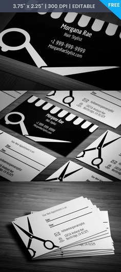 Free Hairdresser With Appointment Business Card Template