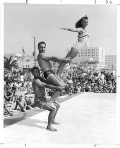 "blackandwtf: "" Sept. 6, 1954 Santa Monica's Muscle Beach crowds were treated to the show they have come to expect Labor Day weekend. DeF"