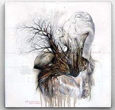 Nunzio Pacis Graphite and Oil Paintings Merge Nature and Anatomy plants nature animals anatomy #painting #graphite #art