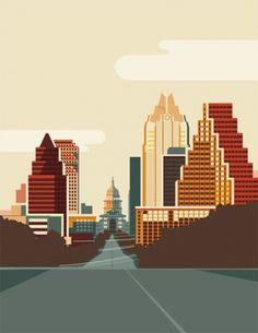 Austin_Poster.jpg (436×564) #austin #illustration #vector #street