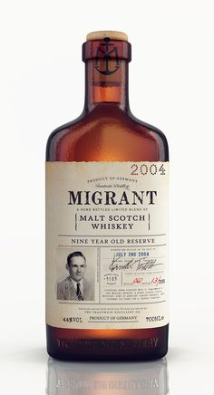 Migrant Whiskey #bottle #vintage #label #antique
