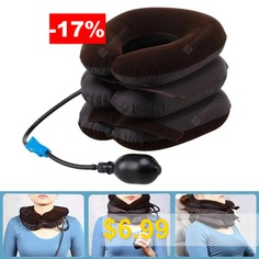Household #Inflatable #Neck #Traction #Device #3-layer #Head #Support #Pillow #- #BROWN