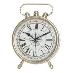 Witts Silver Metal Compass Table Clock