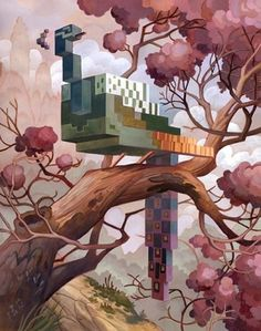 Pixel Animal Series | Fubiz™ #tree #pixel #bird #chineese #painting #art #fine
