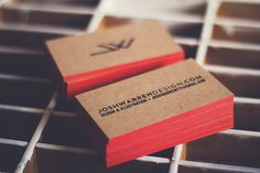 Josh Warren business cards #business card #print #visual identity #colored edge