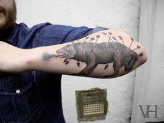 http://valentinhirsch.wordpress.com/ #white #black #tattoo #wolf #and