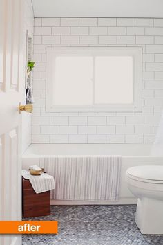 Before & After: Christina's New Neutral Bathroom #subway #tile