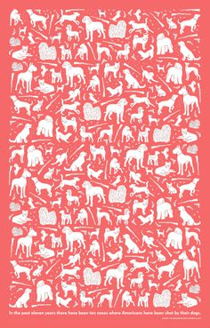 AIGA wrapping paper by MGMT. design #holiday #wrapingpaper #fluorescent #aiga #dogs #guns #paper #design #mgmt #illustration