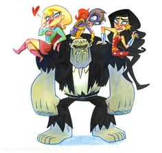 Super Best Friends Forever vs. Solomon Grundy #illustration #retro #comics #cartoon #supergirl #batgirl #wonder girl #solomon grundy