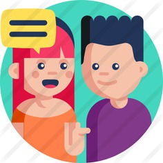 See more icon inspiration related to conversation, communications, user, boy, speech bubble, talk, talking, girl and avatar on Flaticon.