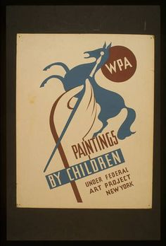 WPA paintings by children under Federal Art Project, New York #wpa #retro #vintage #poster
