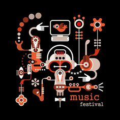 Music Festival - isolated vector illustration on black background. Artwork placard with text \\