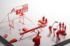 Terada Mokei: 1/100 Architectural Model Accessories Series, No. 21 Men's Gymnastics #red #mokei #terada #sports #architecture #art