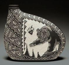 Bear, Sgraffito, scratch, native, ceramic