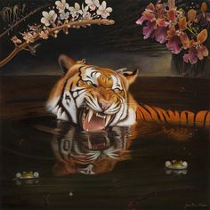 "Art :: JEAN PIERRE ARBOLEDA ""THE NATURE OF EVOLUTION"" #illustration #painting #cat #water #lake #beauty #stripes #tiger #teeth"