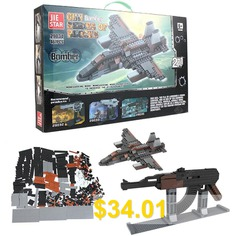 29034 #DIY #Building #Blocks #Assembled #Toy #with #AK47 #- #V1 #Assault #or #Combat #Aircraft #Shape #467PCS #- #GRAY