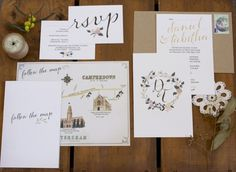 Whimsical Illustrated Hand Lettering Wedding Invitations | Oh So Beautiful Paper