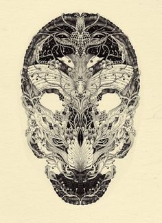 Illustrated Skulls by Meyoko | Colossal #illustration #anatomy #skull