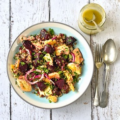 Roast beetroot, halloumi and couscous salad with onion, mint and parsley