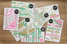 Silkscreen Postcard Set 1. from ZERO PER ZERO #design #graphic #map #ingographic