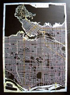 Amazing Hand Cut Map Art #outline #map #cutout