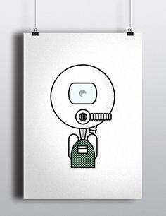 Scuba Diver #diver #characters #stroke #illustration #creatures #minimal #aliens #scuba #character #outline #robots