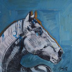 Silver Horse I #acrylic #charcoal #horse