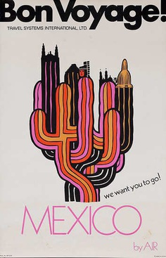 Bon Voyage Travel Poster Mexico ca 1970s