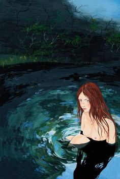 NIMFA_001+copy.jpg (600×897) #magda #water #girl #nude #barcik #illustration #painting #lake #naked