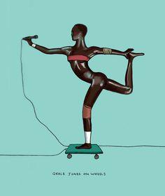 Grace Jones on wheels #gracejones #illustration #michaelconstantine