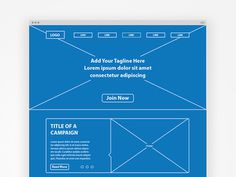 Landing Page Wireframe #page #wireframe #blueprint #layout #web #landing