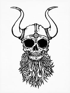 Viking Skull Art Print #ink #illustration #poster #art #skull #viking