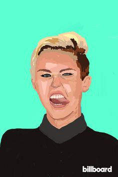 """Miley Cyrus 2.0,"" Billboard Magazine #color #design #illustration #portrait #painting #art #music #editorial #magazine #miley"