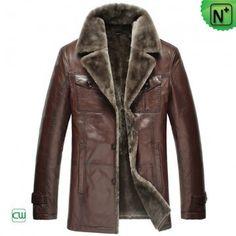 Fur Lined Shearling Coat Men CW868821